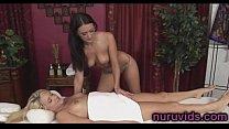 Sweet girls make lesbian love after massage thumbnail
