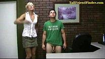 Tall amazon humiliates small man then wanks him