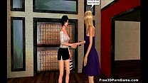 Foxy 3D babe meets a hot lesbian in the locker room pornhub video