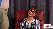 Classy spex beauty instructing sub to stroke