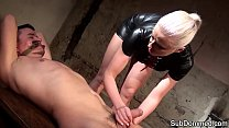 Dominant euro tugging restrained subs cock thumb