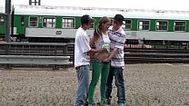 Young teens risky PUBLIC railway station threesome Thumbnail