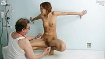 Jane pussy gaping on gyno chair at clinic durin...