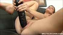 Amateur brunette Ennie moans and fucks a big black dildo