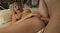 Busty Allie James takes off her cloth for deep pussy penetration