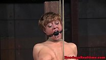Gagged submissive gets her bigtits tormented video