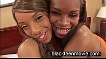 Two black teen cuties in a threesome in Black E...