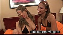 Two black teen cuties in a threesome in Black Ebony Porn Video image