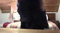 Fake cop bangs bent over brunette