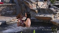 Lesbians anal beside outdoor jacuzzi