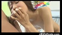 Japanese babe Hazuki Miria toy fucking and loaded with man-gravy