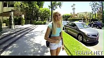 Hot legal age teenager halle von is using her face hole