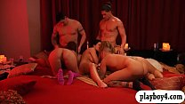 Horny couples swap partners and groupsex in the red room