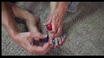 Deauxma gives herself a pedicure and then does a foot job on a big dildo