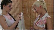 Shaped blonde pussy massaged by brunette masseuse