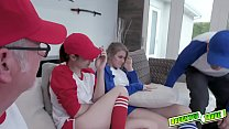 Besties April Snow and Taylor Blake gets their twats a hard pumelling by their pissed off daddies - VideoMakeLove.Com