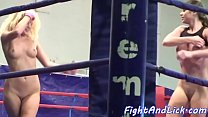 Lez babe orally pleasured in boxing match porn thumbnail