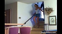 Babysitter getting seduced by couple
