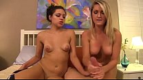 Small tit teen jerks off her brother's cock with her friend's help. thumbnail