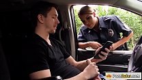 Busty police officer fucking a stranger image