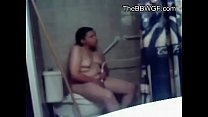 Horny chubby ex GF masturbating while in her shower