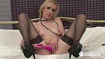Joanna White Fucks Her Pussy In Sexy Stockings & Heels