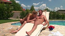 Busty young Susan gets facialized at poolside