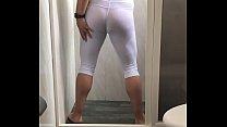non binary slut takes a bath in see through white wet leggings