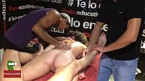 8821 Two naked lesbians enjoy a sex massage in public preview