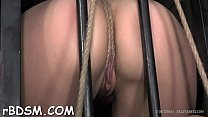 Bounded serf beauty is getting a lusty pussy to...