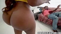 Black Milf Catches Her Man Jerking Off Watching