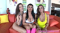 SWALLOWED Horny Abigail, Romi and Kalina threeway gang blow thumbnail