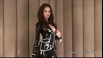 Latex lover Olivias outdoor fetish wear and long rubber boots on brunette babe i thumbnail
