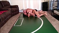 Playful wrestling ends in creampie video