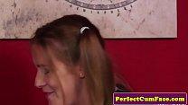British schoolgirl tugging dick before facial thumbnail