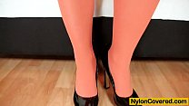 Sweet Cat head to toe nylon covered sex toy solo video Thumbnail