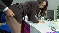 Sexy office chick bending over and fucked hardc...
