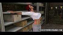 Two sexy 3d cartoon cuties at a garage in sexy threesome's Thumb