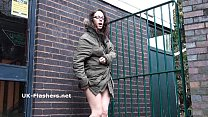 Naughty geek Beauvoirs public nudity and outdoor flashing of sexy university coe Preview