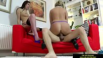 Mature milf in stockings riding dick in threeway