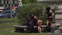 Bare foot babe flashing in public