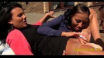 Lesbian Babes Outdoors Threesome Golden Shower Fetish thumbnail
