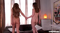 Lesbo lovers Dorothy Black & Angelica Heart ride sex toy for orgasms