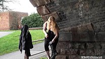 Blonde babes public masturbation and outdoor pussy flashing of sexy amateur chic Preview