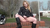 Blonde babes public masturbation and outdoor pussy flashing of sexy amateur chic image