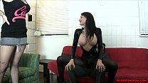 Goth chick and hot friend BALLBUSTING FACE SITT...