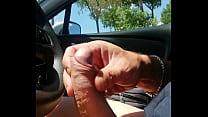 I masturbate my cock in the car under the sun and good cum