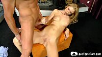 Shaved Blonde Helps Him Cum With A Handjob