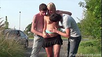 Young hot blonde teen girl is fucked by 2 teen ...