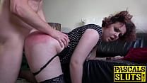 Teary eyed sub flogged until her ass cheeks tur...